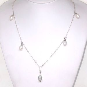 Vintage 925 Silver Crinkle Chain Pearl Necklace